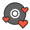 cd, dating, disc, heart, love, love cd icon