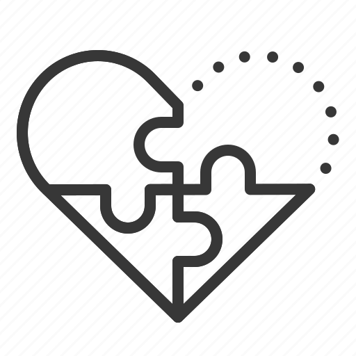 dating, heart, jigsaw, love, puzzle icon
