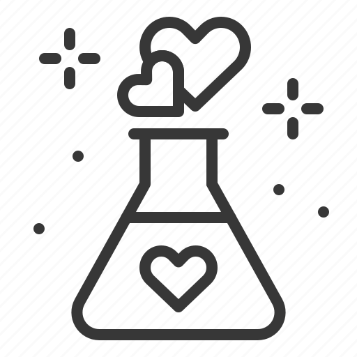 bottle, chemical, dating, heart, love, love chemical icon