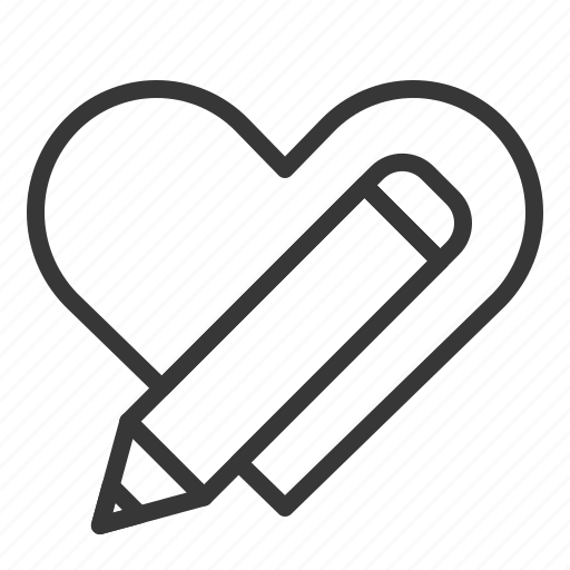 dating, heart, heart message, love, pencil icon