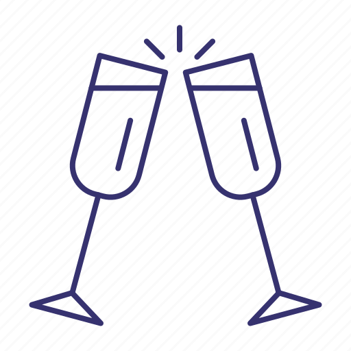 alcohol, champagne, cheers, drink, glasses, toast icon