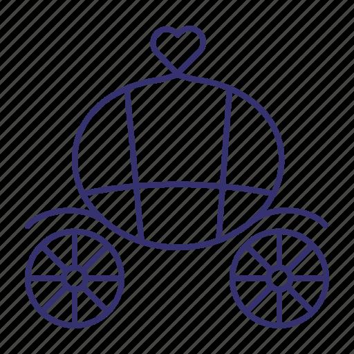 brougham, carriage, marriage, vintage, wagon, wain, wedding icon