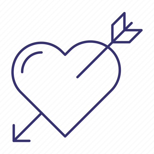 arrow, cupids, heart, love, romance, wedding icon