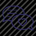 chat, comments, communication, conversation, messages, romance, romantic icon