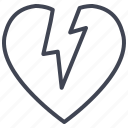 broken, heart, love, romantic, valentine, valentines icon
