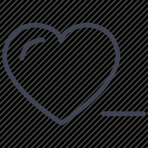 delete, heart, love, remove, romantic, valentine icon