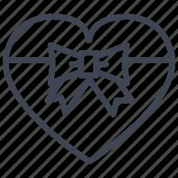 gift, heart, love, present, romantic, valentine, wrapped icon