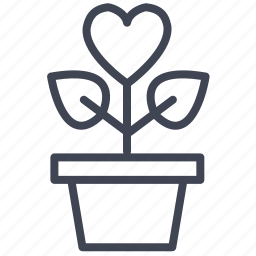 growing, heart, love, plant, romantic, valentine icon