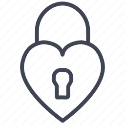 heart, lock, love, romantic, security, valentine icon