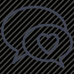 communication, conversation, heart, love, romantic, valentine icon