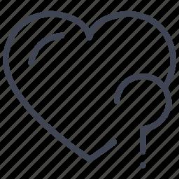 heart, love, question, romantic, valentine, valentines icon