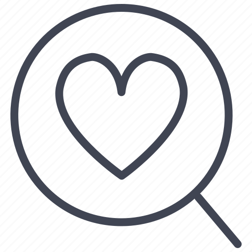 heart, love, magnifier, romantic, search, valentine icon