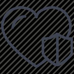 heart, love, romantic, security, shield, valentine icon
