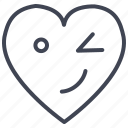 heart, love, romantic, valentine, valentines, winking icon