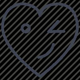heart, love, romantic, valentine, valentines, winking icon