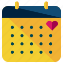 calendar, date, heart, love, marriage, valentine icon