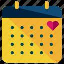 calendar, date, heart, love, marriage, valentine