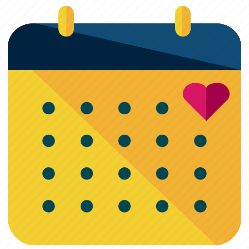 calendar, date, heart, love, marriage, valentine icon
