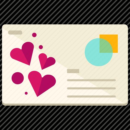 heart, invitation, love, marriage, postcard icon
