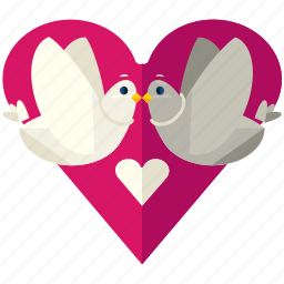 birds, doves, heart, love, marriage, valentine icon