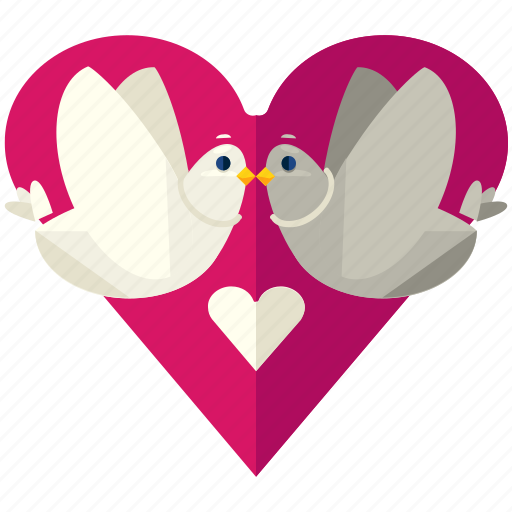 birds, doves, heart, love, marriage, valentine icon