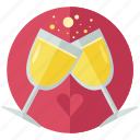 beverage, celebrate, drink, glass, love, marriage, toast icon