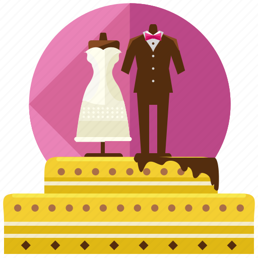 cake, dress, food, love, marriage, suit, wedding icon