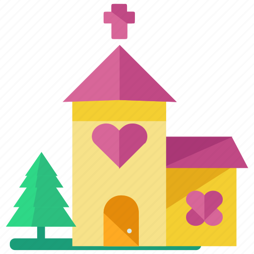 building, church, heart, love, marriage, tree icon