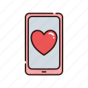heart, love, smartphone, valentine