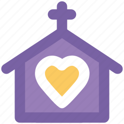 building, church, happiness, heart sign, marriage service, wedding ceremony, wedding chapel icon