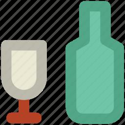 alcohol, alcoholic beverage, alcoholic drink, beverage, bottle, drink, glass icon