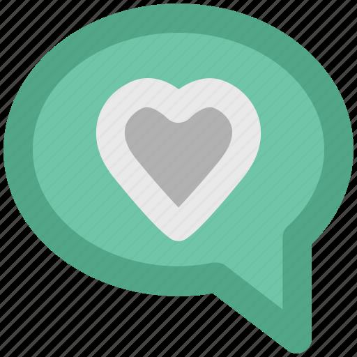 compassion, heart sign, love chat, love via internet, relationship theme, romantic conversation, speech bubble icon