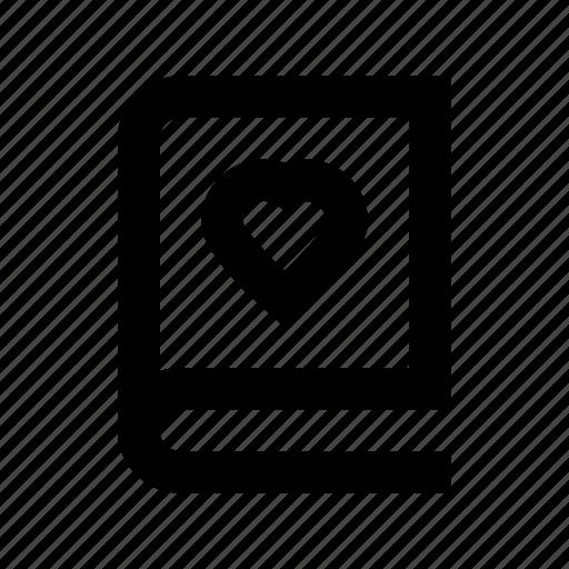 diary, heart sign, love, memo, romantic novel icon