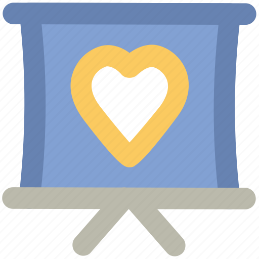 conference, heart sign, love inspiration, love presentation, presentation, projection screen, proposal icon