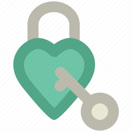 feelings, heart padlock, key, love, opening heart, passion, romanticism icon