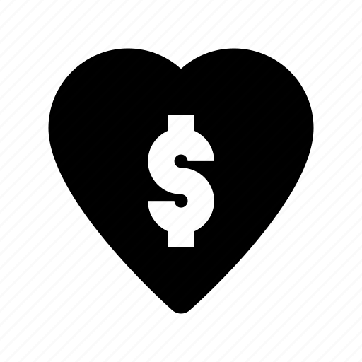 dollar, greedy, heart, love, money lover icon