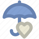 heart, love inspiration, love theme, parasol, protection symbol, umbrella, valentine icon