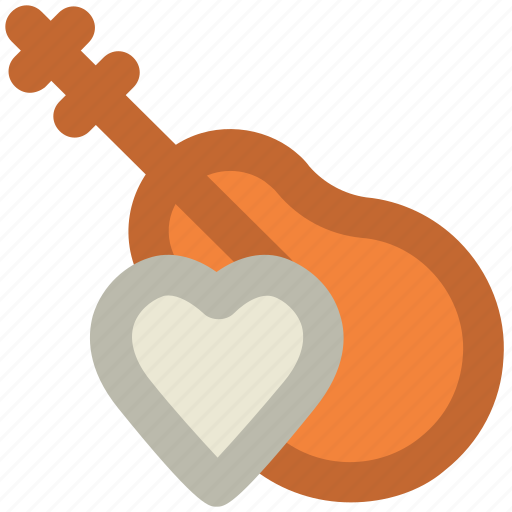 frets, guitar, heart sign, jazz, melody, music instrument, ukulele icon