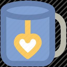 heart teabag, love theme, passion, tea, tea love, tea mug, valentine day icon