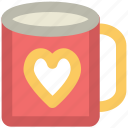 coffee mug, feelings, friendship, heart symbol, in love, sentimental, valentine day icon