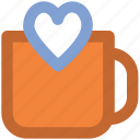 beverage, coffee mug, drink, friendship, heart symbol, love, valentine day icon