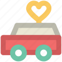 carry van, gift, heart sign, love shipment, present, someone special, truck loading icon