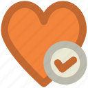 check mark, infographic element, like, love, love heart, love sign, passion icon