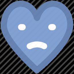 cartoon, emotions, heart face, sad, sad heart, sadness, unhappy heart icon