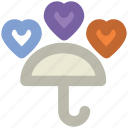 happiness, honeymoon, love, rain hearts, umbrella, valentine day, wedding day icon