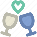 cheers, love theme, passion, toasting glasses, togetherness, valentine day icon