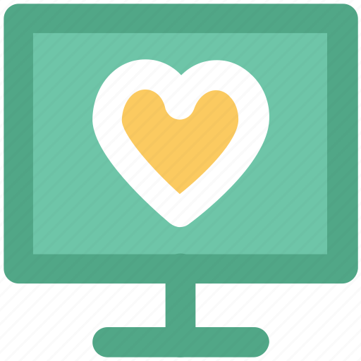 heart sign, love, love message, love via internet, media, monitor, valentines day icon