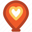 dating, favorite location, heart, map pin, romance, sentiments, valentine day