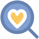 dating, heart, heart search, love symbol, magnifier, marriage proposal find partner icon