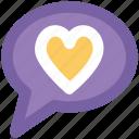 compassion, heart sign, love chat, love via internet, relationship theme, romantic conversation, speech bubble